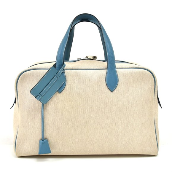 Hermès Coated Canvas & Light Blue Leather Victoria 43
