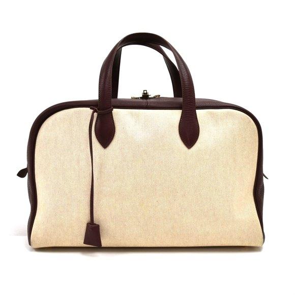Hermès Beige Coated Canvas & Burgundy Leather Vintage Victoria 45