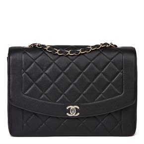 Chanel Black Quilted Caviar Leather Vintage Large Diana Classic Single Flap Bag
