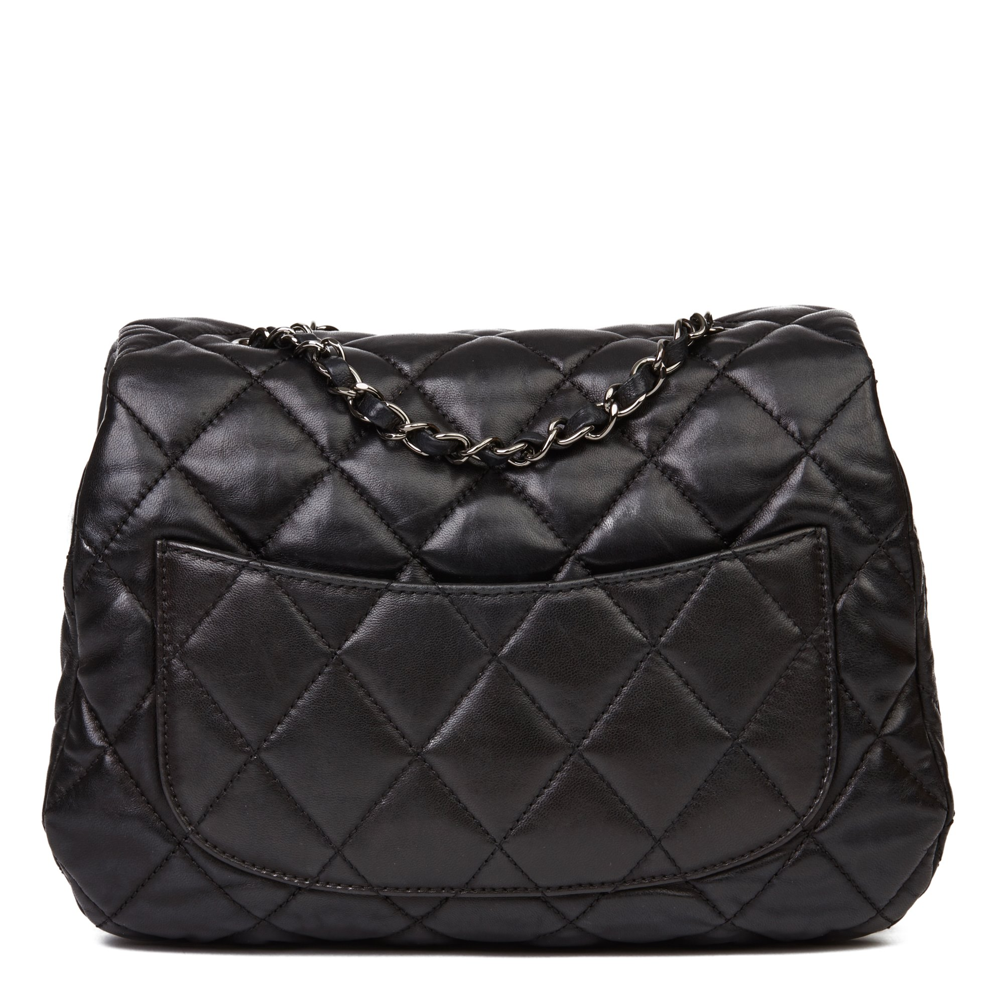 Chanel Black Quilted Lambskin Triple Compartment Classic Single Flap Bag