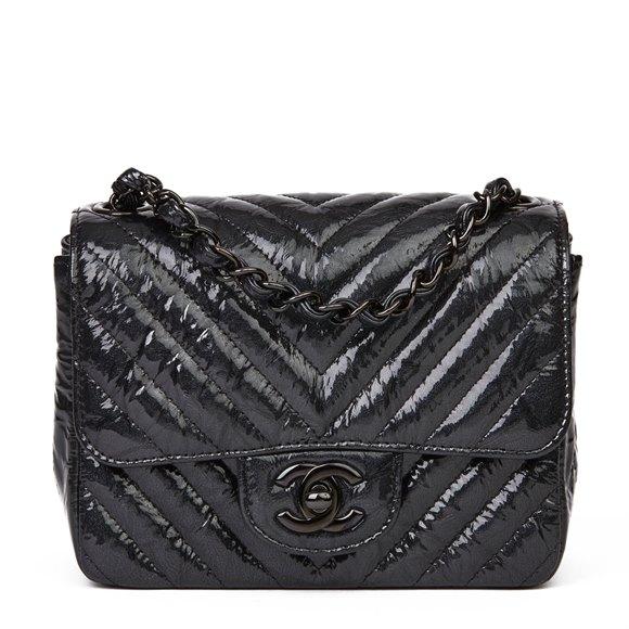 Chanel Black Chevron Quilted Crumpled Metallic Calfskin Leather SO Black Mini Flap Bag