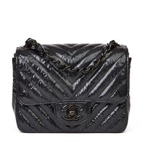 Chanel Black Chevron Quilted Crumpled Metallic Calfskin Leather SO Black Mini Flap Bag
