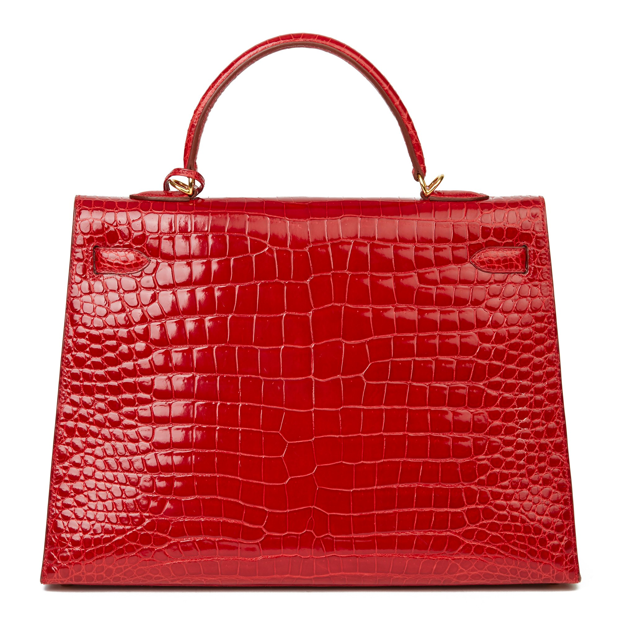Hermès Braise Shiny Porosus Crocodile Leather Vintage Kelly 35cm Sellier