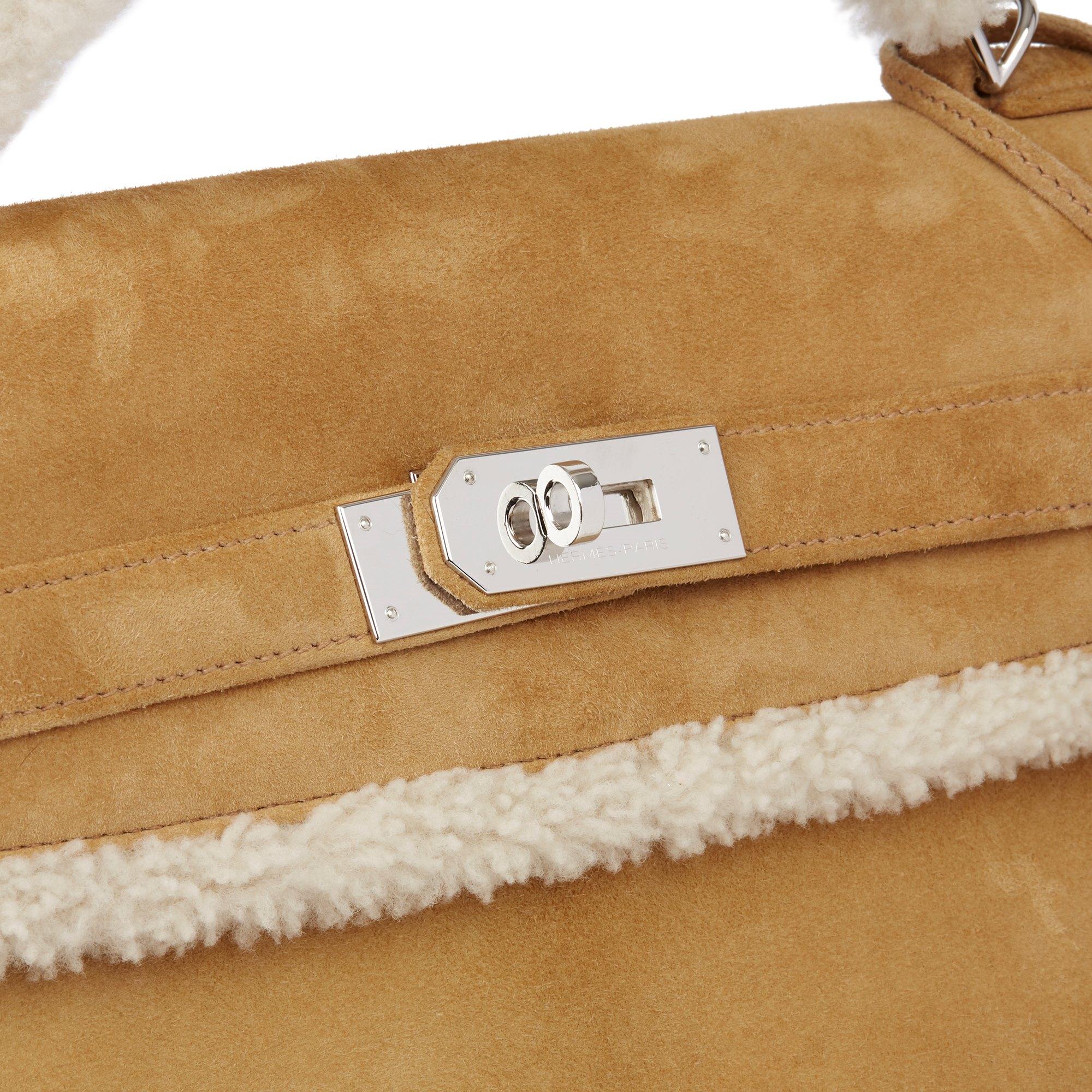 Hermès Alezan Veau Doblis Suede & Shearling Teddy Peluche Kelly 40cm Retourne