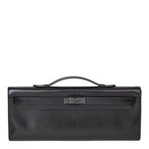 Hermès Black Box Calf Leather SO Black Kelly Cut