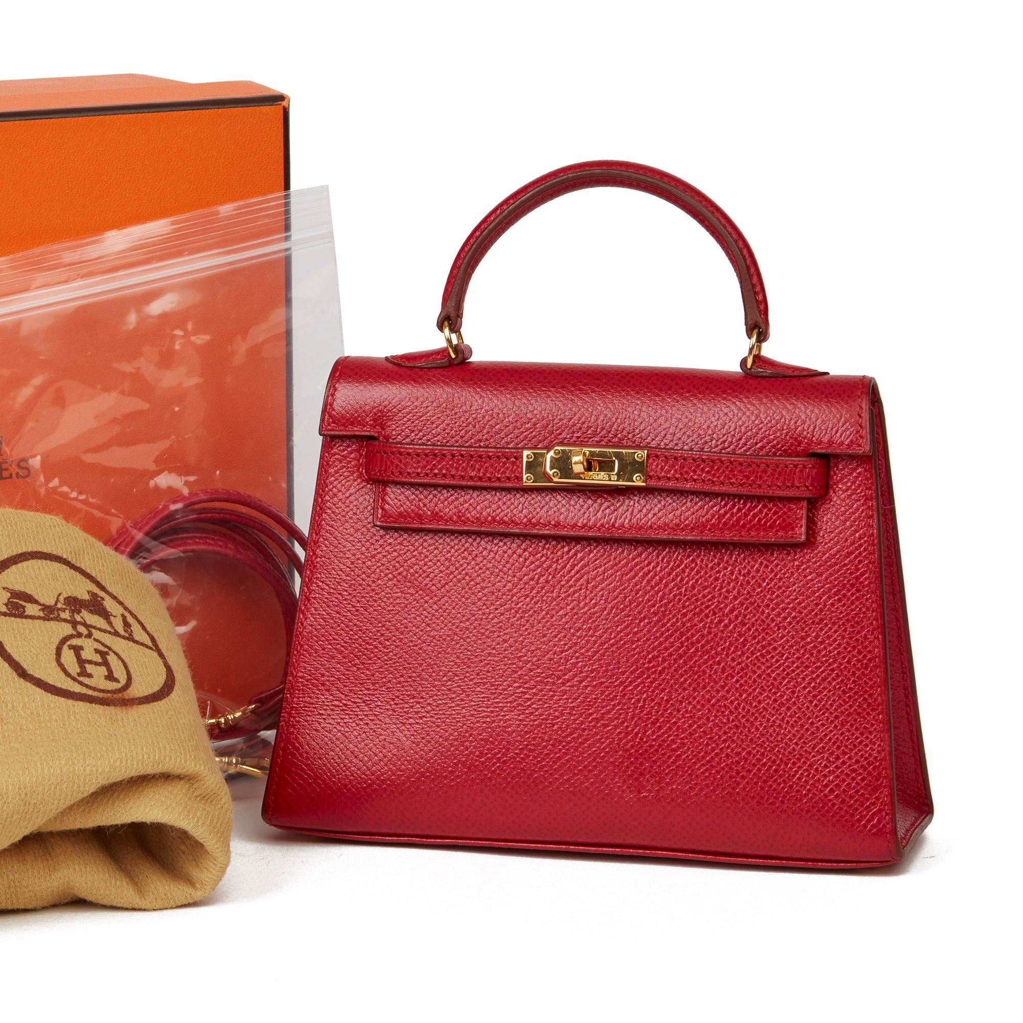 Hermès Rouge Vif Courchevel Leather Vintage Kelly 15cm Sellier