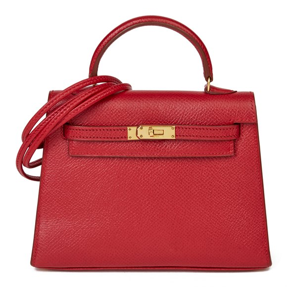 Hermès Rouge Vif Courchevel Leather Vintage Kelly 15cm Sellier