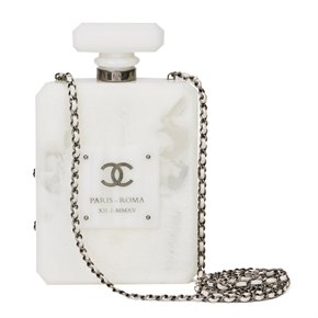 Chanel White Marble Plexiglass Paris-Rome Perfume Bottle Bag