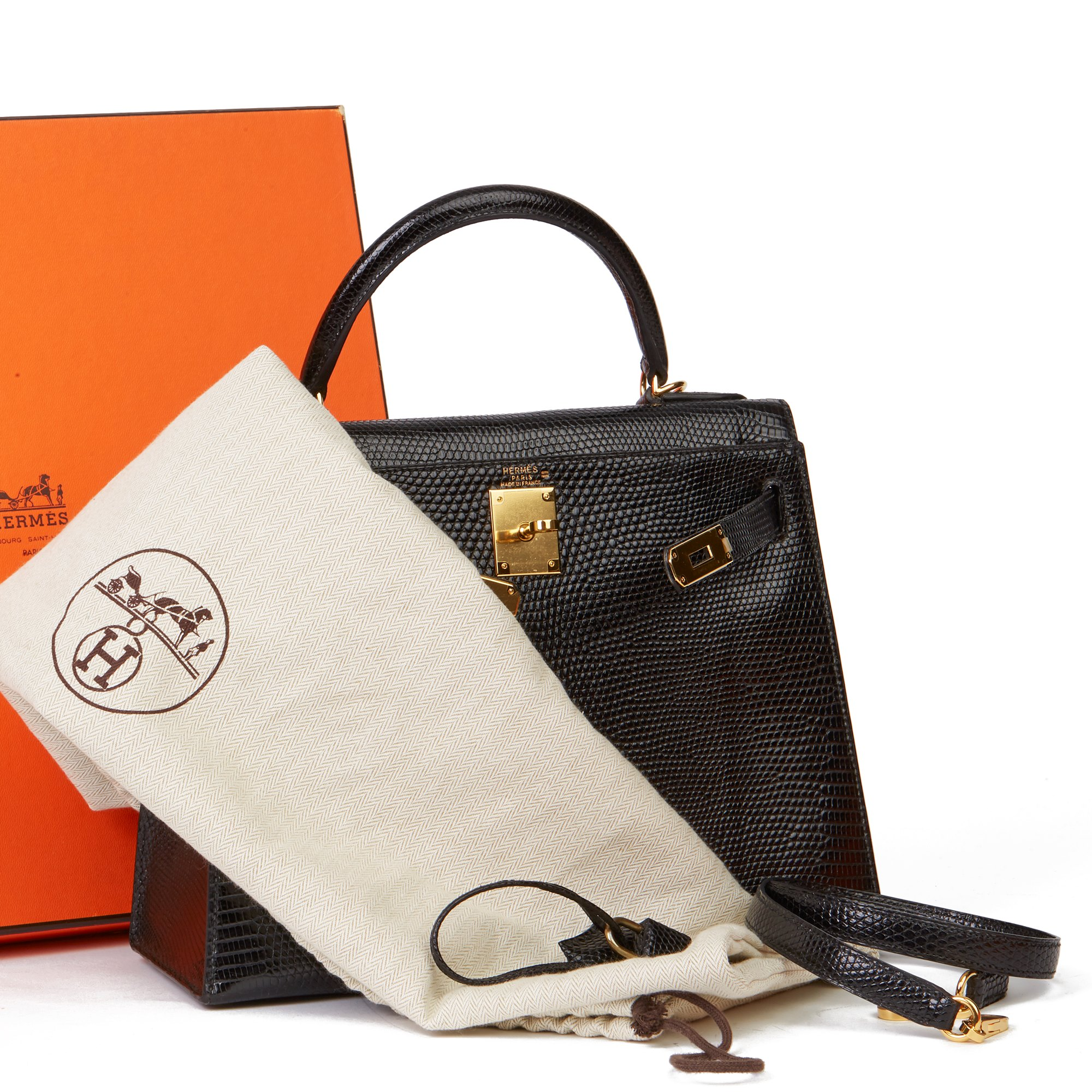 Hermès Black Lizard Leather Vintage Kelly 28cm Sellier