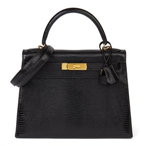 Hermès Black Lizard Leather Vintage Kelly 28cm Sellier