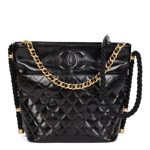 Chanel Black Quilted Aged Calfskin Leather En Vogue Hobo Bag
