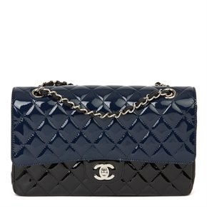 Chanel Black & Navy Quilted Patent Leather Medium Classic Double Flap Bag