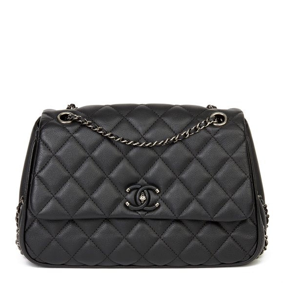 Chanel Black Quilted Calfskin Leather Medium Frame in Chain Flap Bag