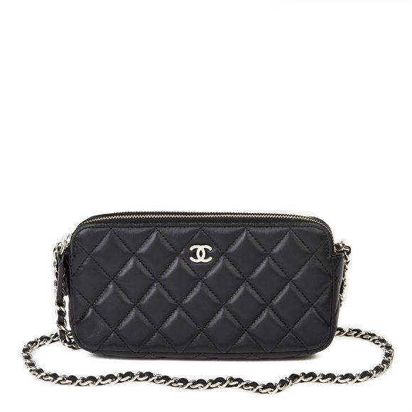 Chanel Black Quilted Lambskin Double Zip Wallet-on-Chain WOC