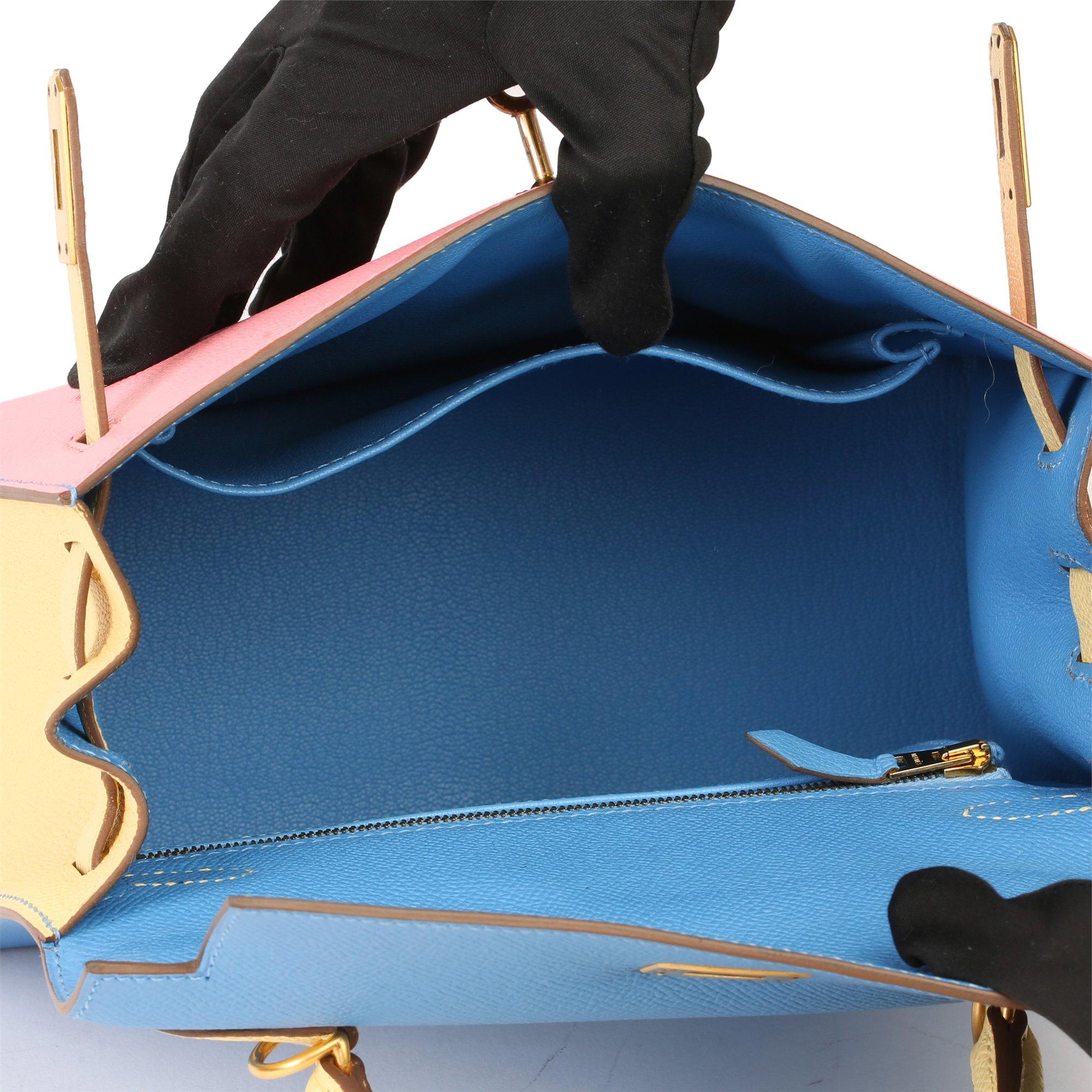 Hermès Rose Confetti, Jaune Poussin & Bleu Hydra Epsom Leather Special Order HSS Kelly 25cm Sellier