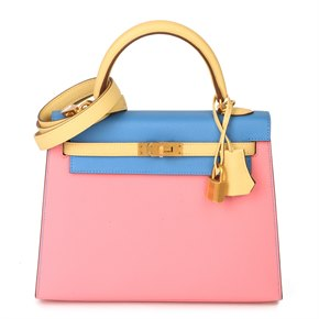 Hermès Rose Confetti, Jaune Poussin & Bleu Hydra Epsom Leather Special Order HSS Kelly 25cm Sellier