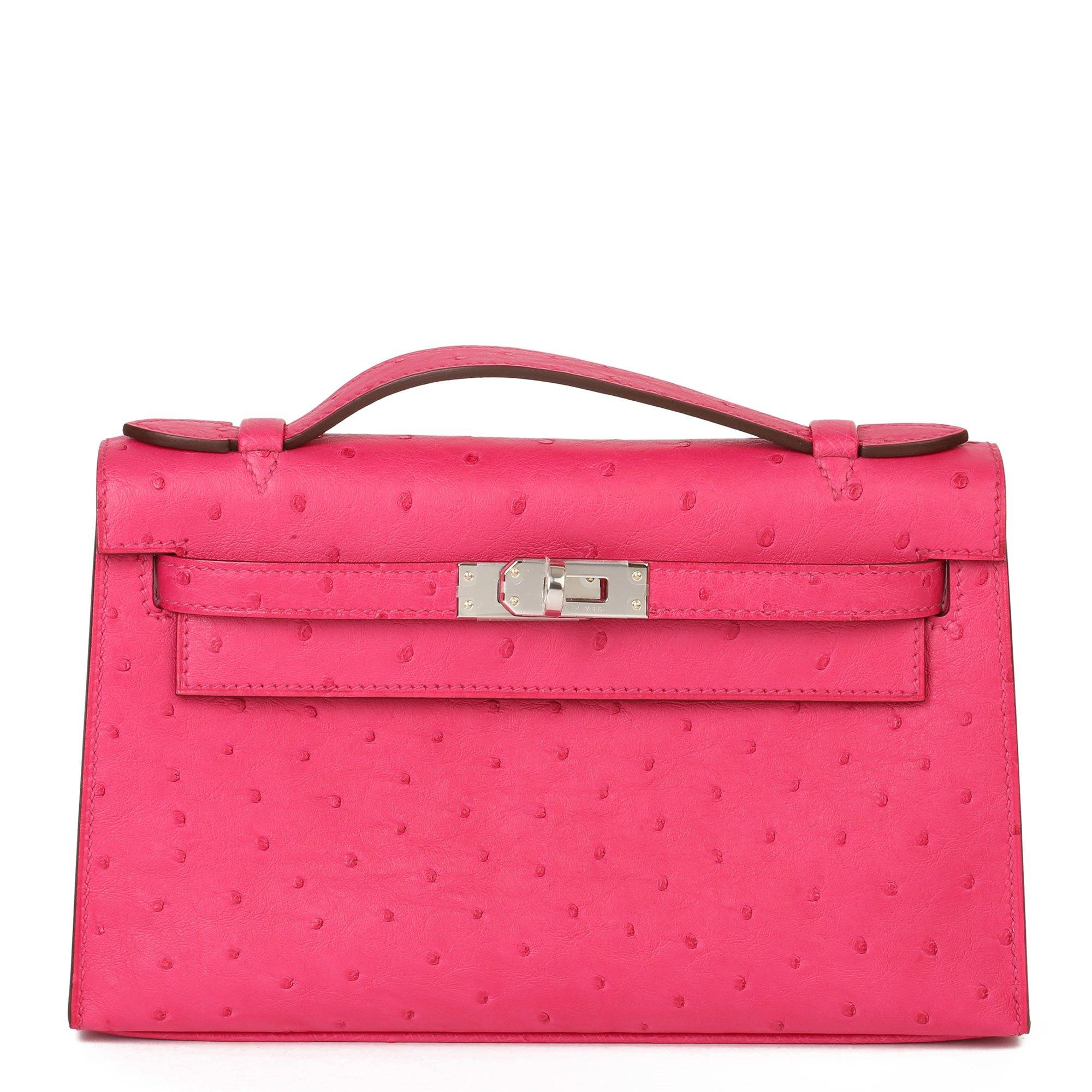Hermès Rose Tyrien Ostrich Leather Kelly Pochette