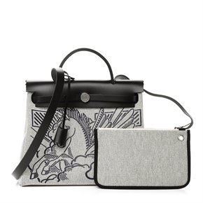Hermès Black Vache Hunter Leather & Black, White Canvas Pegase Herbag Zip 31