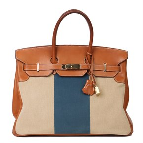 Hermès Barenia Leather & Blue, Beige Canvas Flag Birkin 35cm