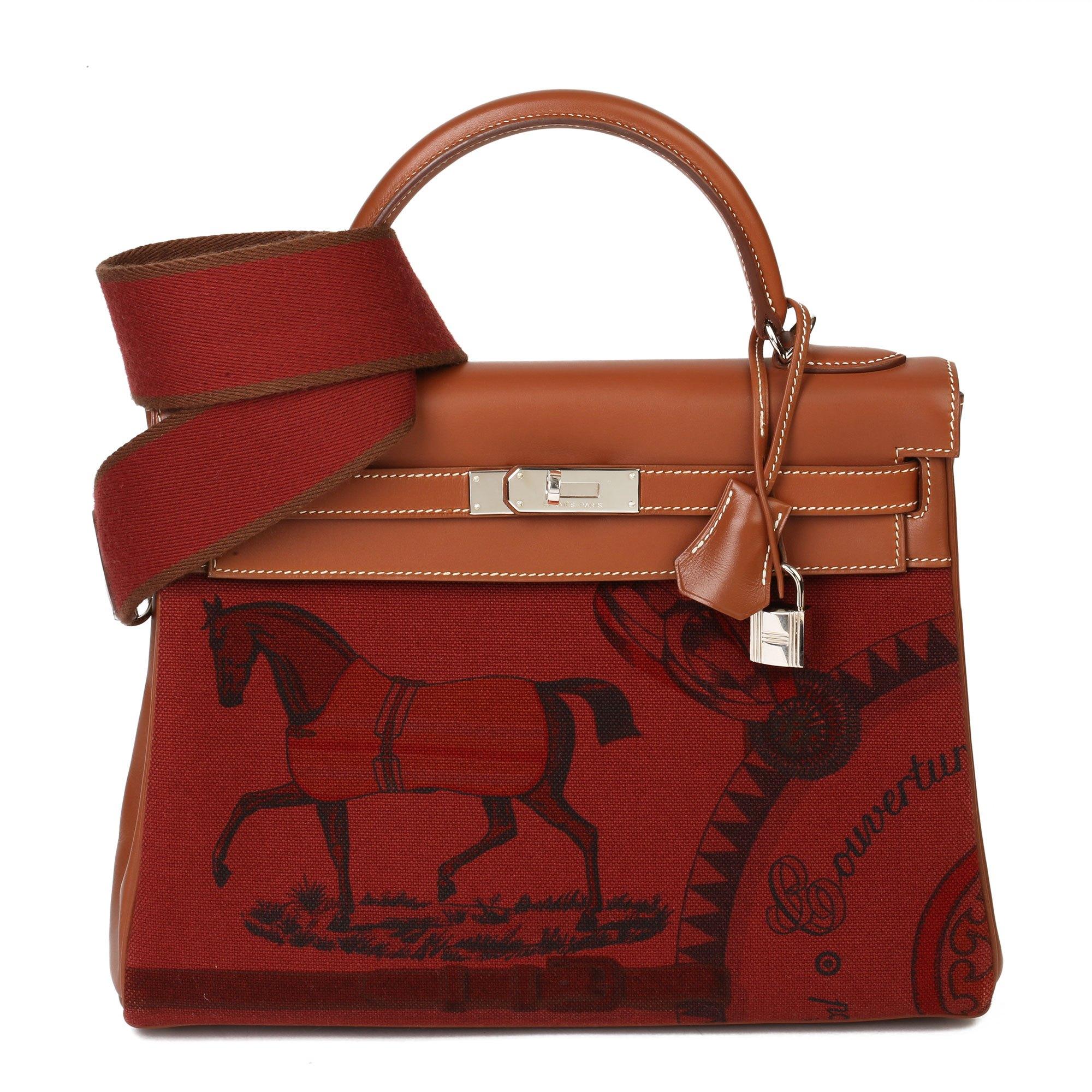 Hermès Rouge H Toile & Barenia Horse Print Amazone Kelly 32cm Sellier