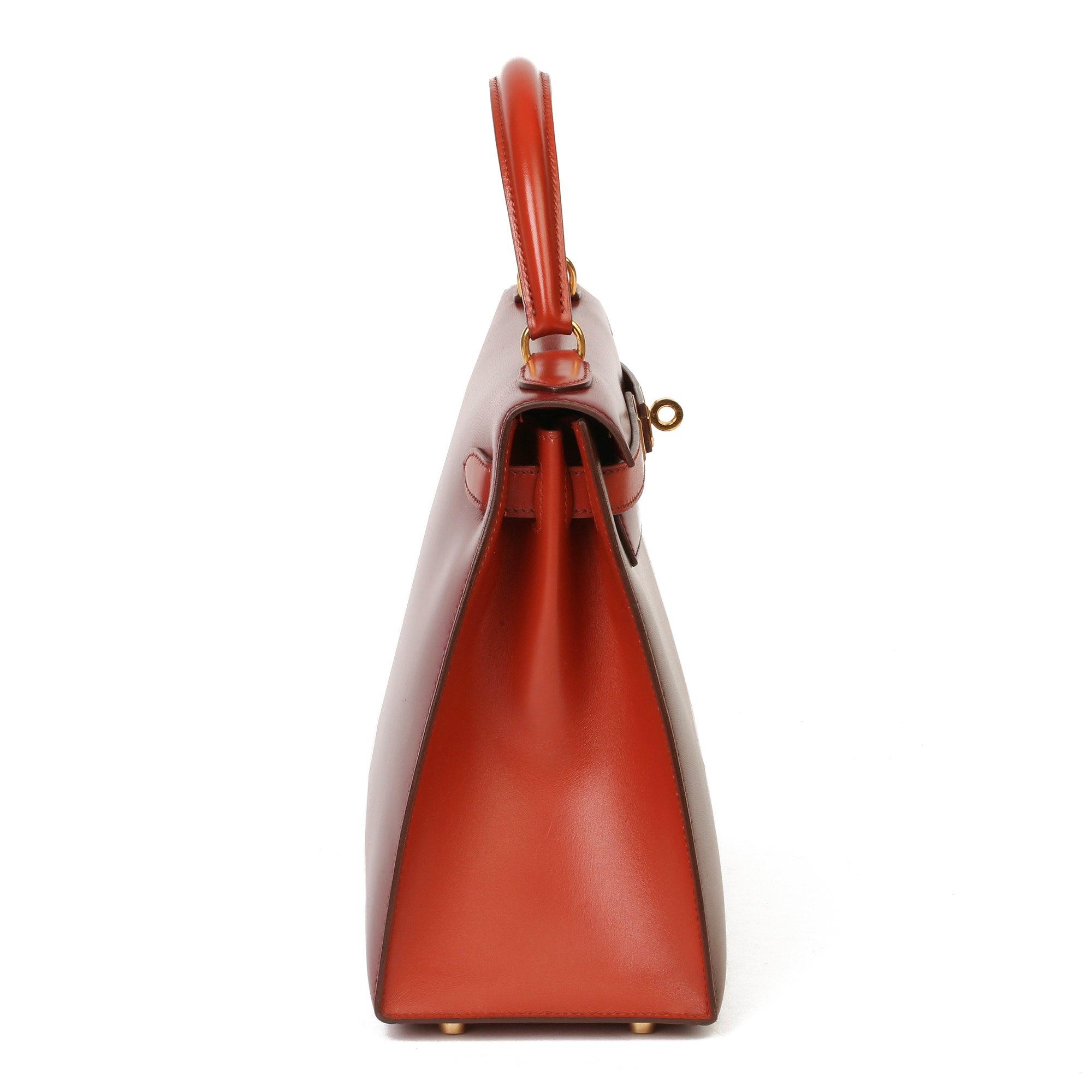 Hermès Brique, Rouge H & Chocolate Box Calf Leather Vintage Kelly 28cm