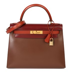 Hermès Brique, Rouge H & Chocolate Box Calf Leather Vintage Kelly 28cm