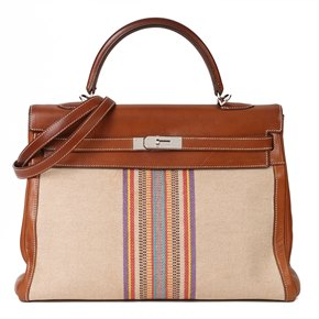Hermès Barenia Leather & Multicolour Toile Indian Ganges Kelly 35cm Retourne
