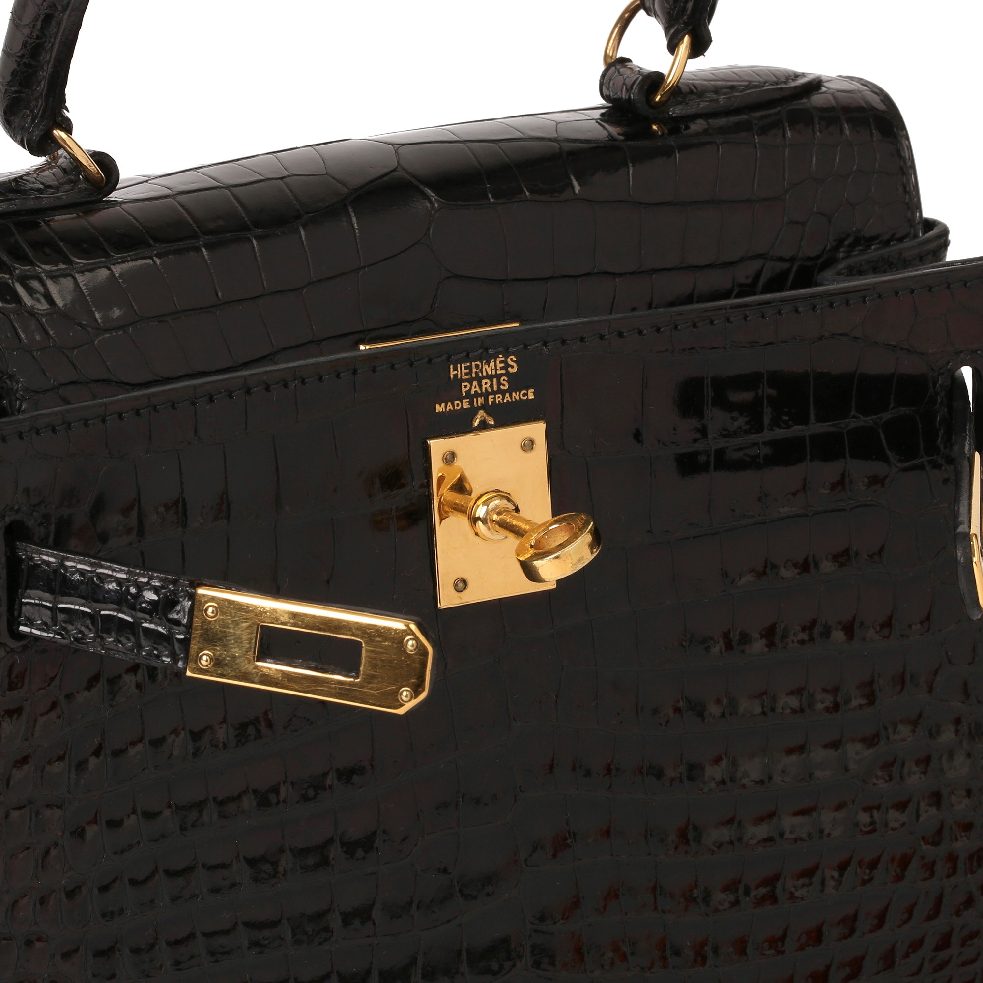 Hermès Black Shiny Porosus Crocodile Leather Vintage Kelly 20cm Sellier