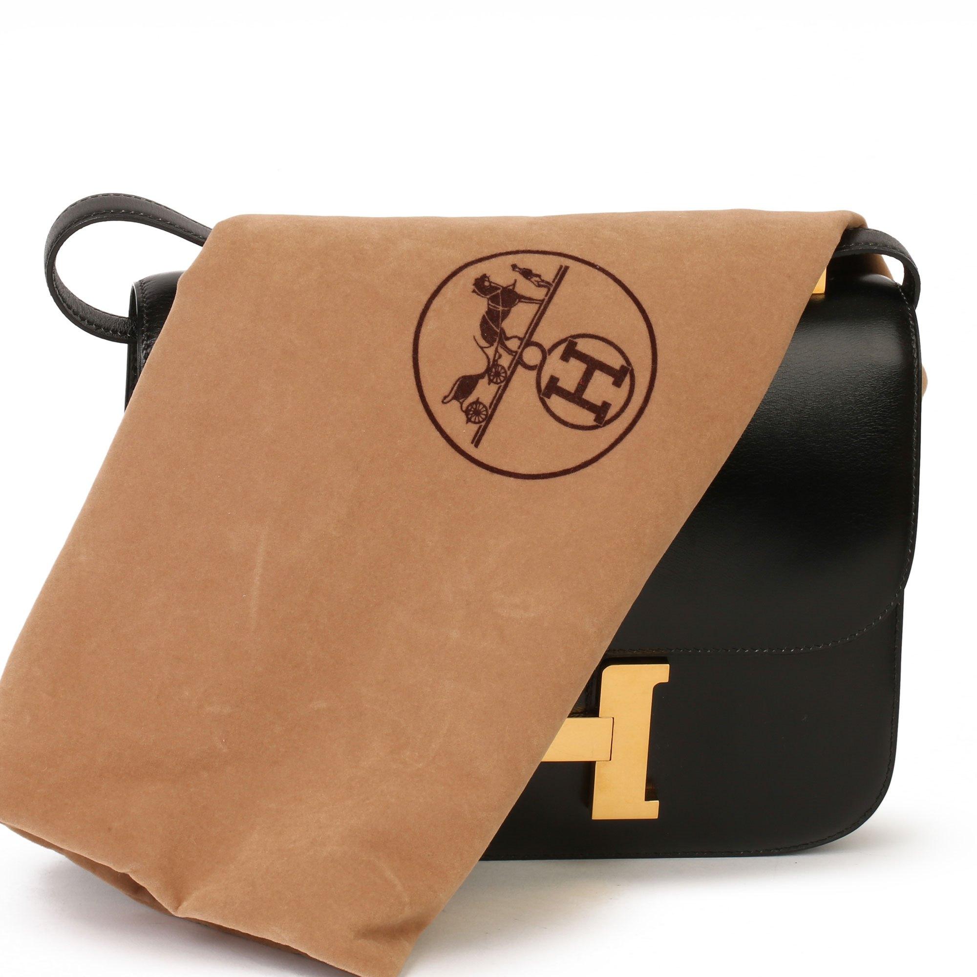 Hermès Black Box Calf Leather Vintage Constance 23