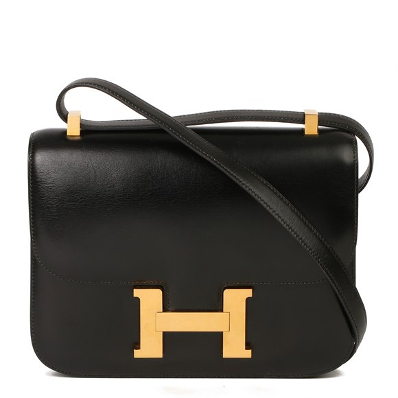 Hermès Black Box Calf Leather Vintage Constance 23