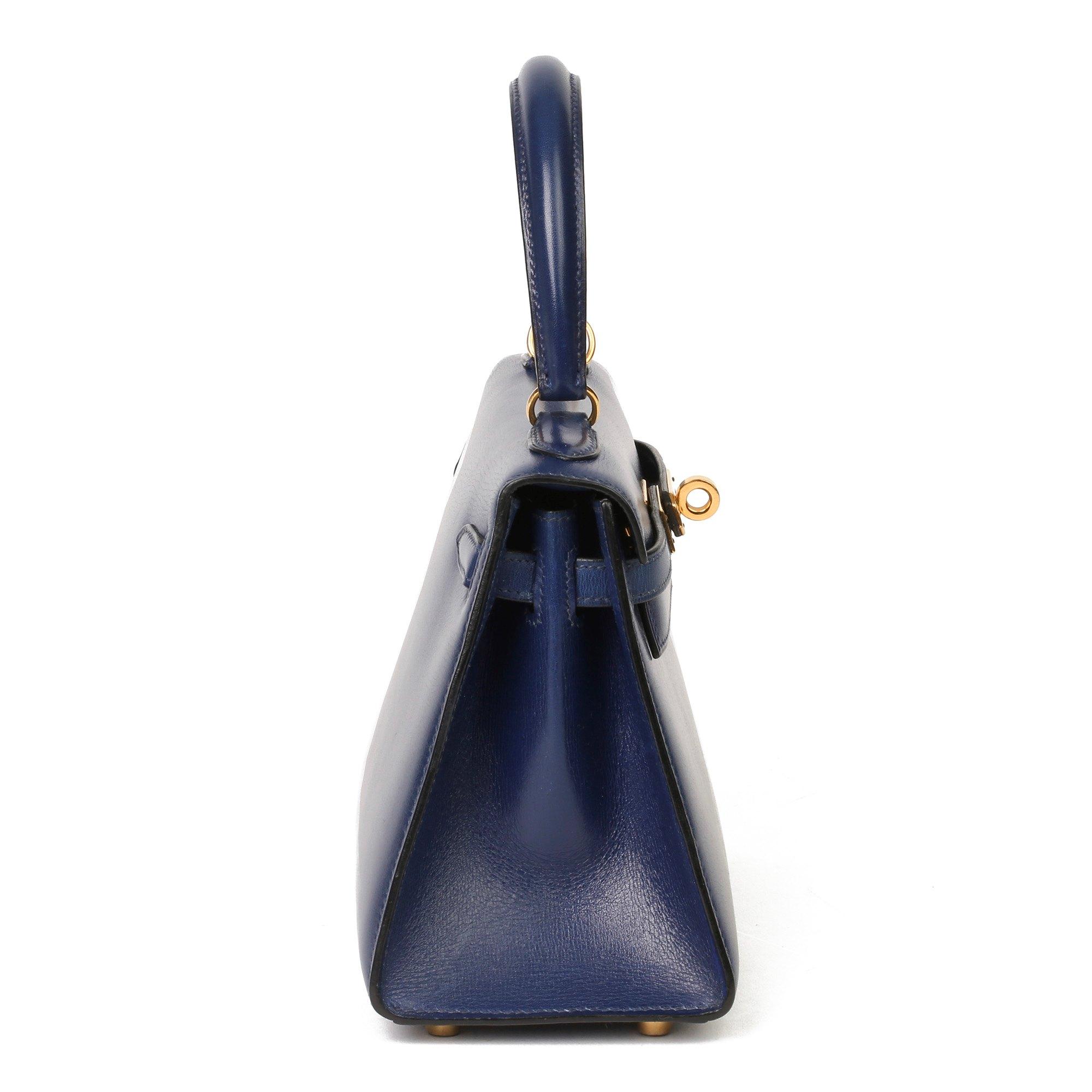 Hermès Blue Saphir Box Calf Leather Vintage Kelly 20cm Sellier