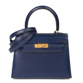 Hermès Blue Saphir Box Calf Leather Vintage Kelly 20cm Sellier