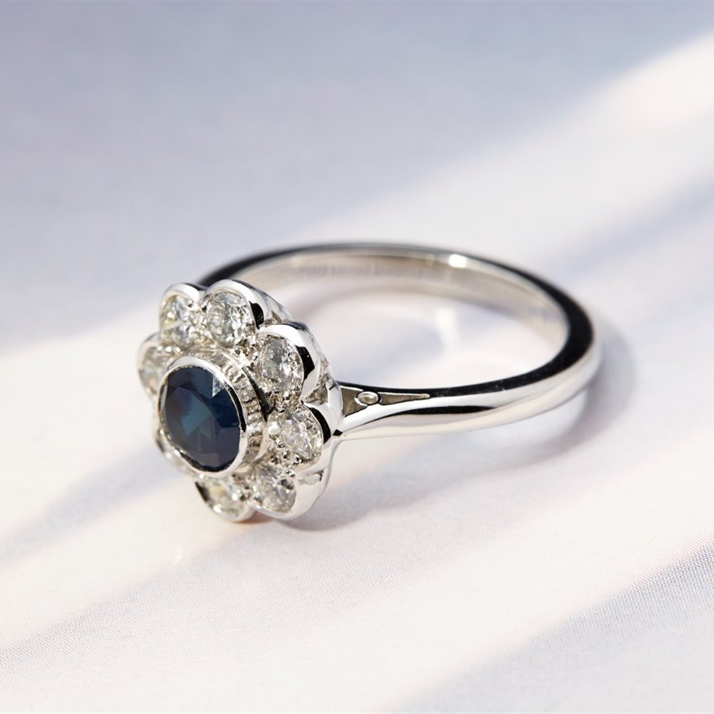Platinum Platinum 0.93ct Sapphire & 0.75ct Diamond Flower Ring