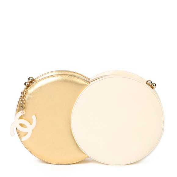Chanel Gold Lambskin & Beige Patent Leather Double Circle Clutch