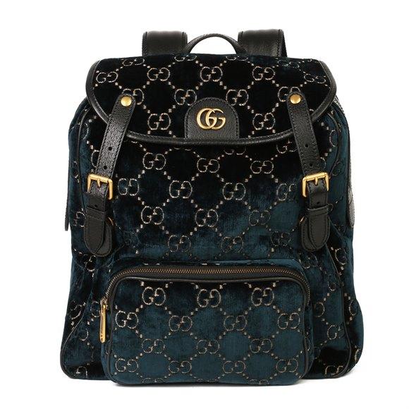 Gucci Dark Blue GG Velvet & Black Pigskin Small Marmont Backpack