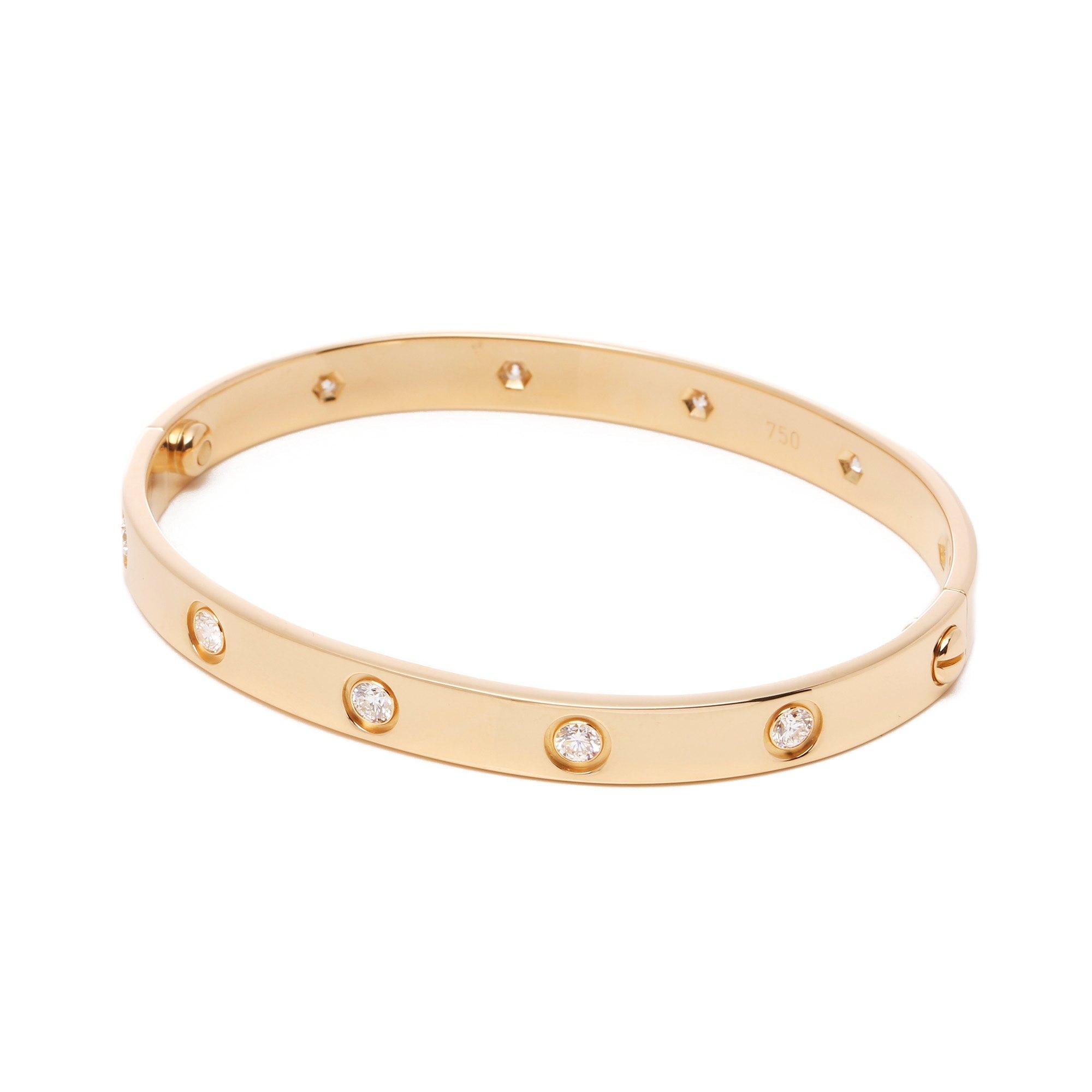 Cartier Love 10 Diamond 18ct Yellow Gold Bangle