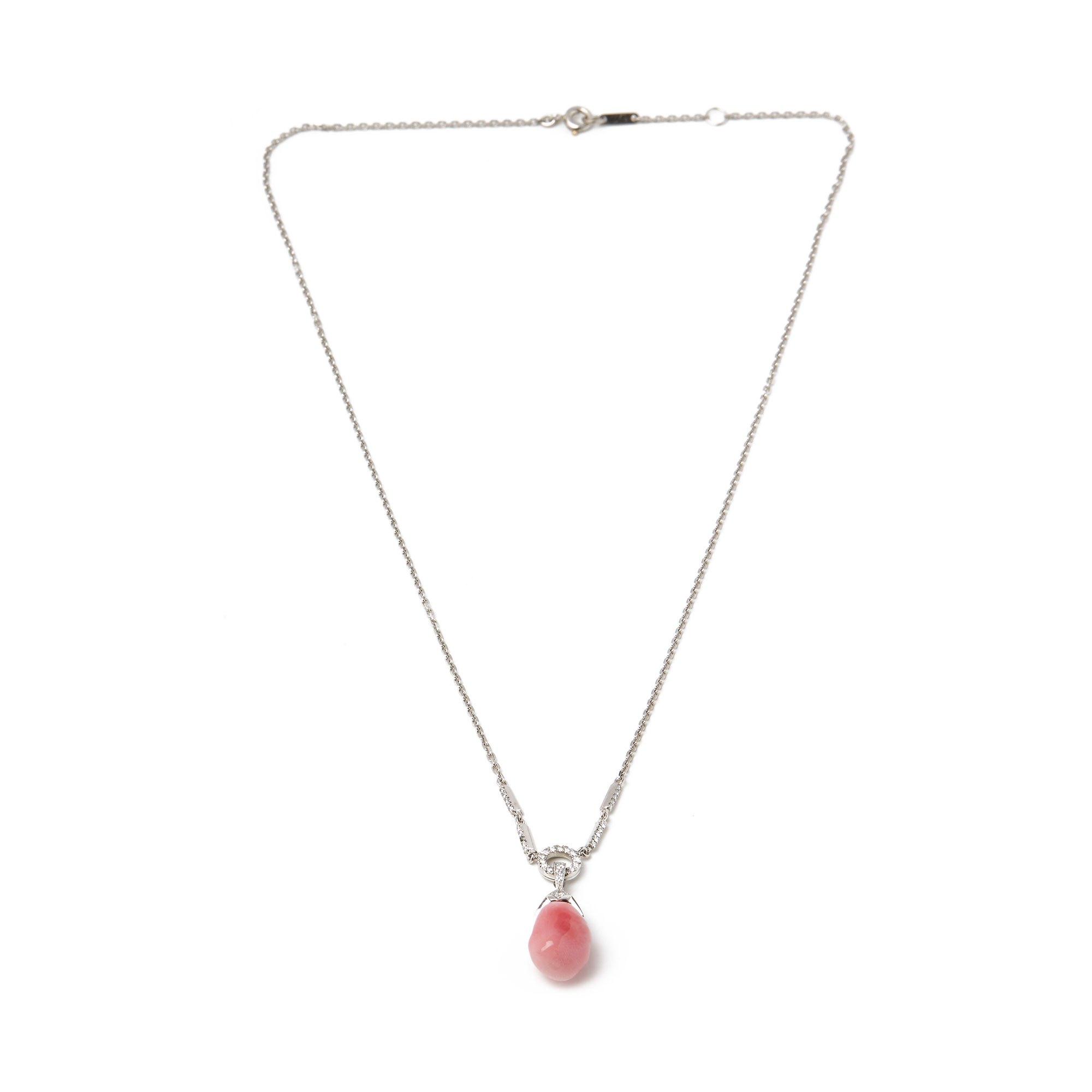 David Morris 6.9ct Conch Pearl and Diamond Platinum Pendant