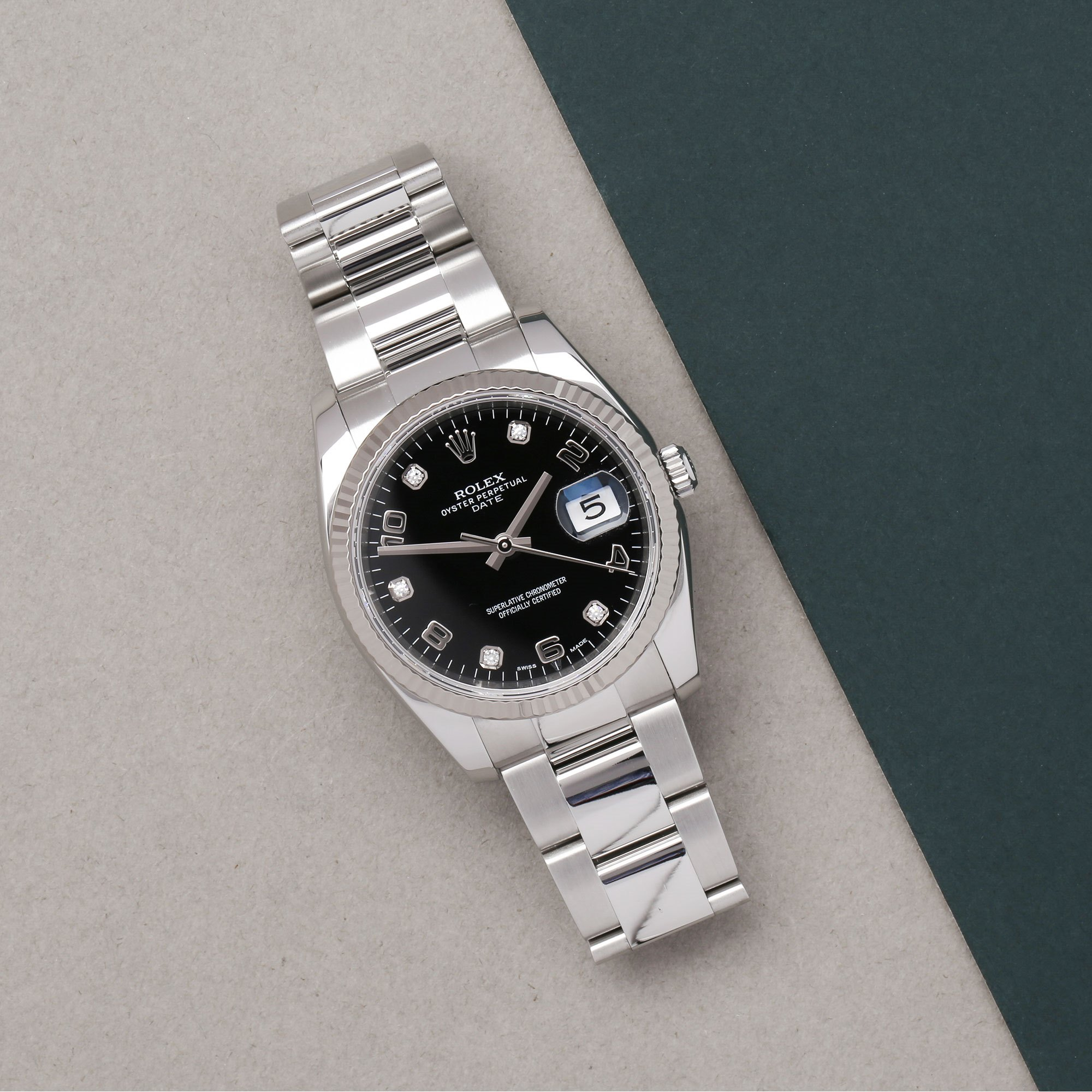 Rolex Oyster Perpetual Date Diamond 18K White Gold & Stainless Steel 115234
