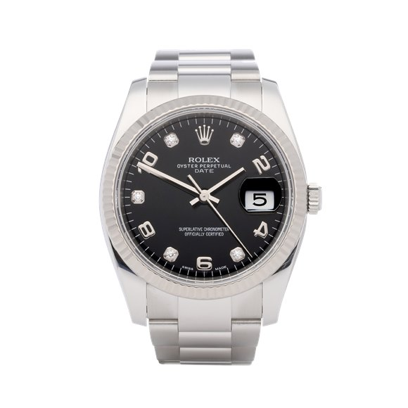 Rolex Oyster Perpetual Date Diamond 18K White Gold & Stainless Steel - 115234
