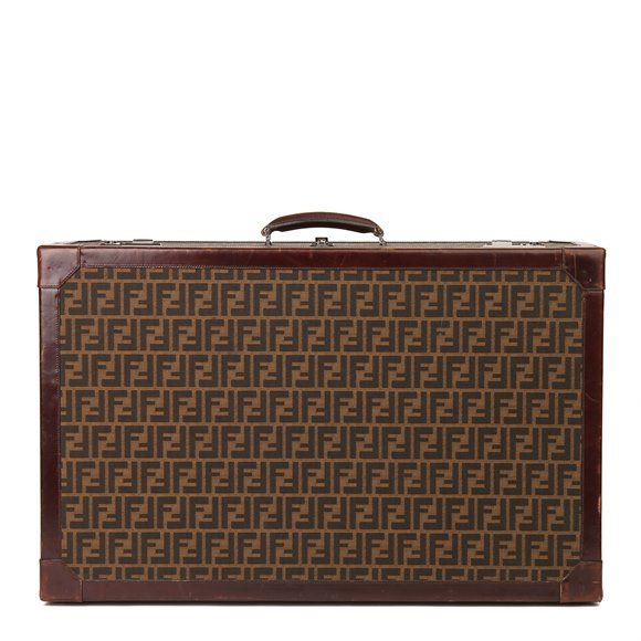 Fendi Brown Zucca Monogram Canvas Vintage Trunk, Originally Owned by Karl Lagerfeld