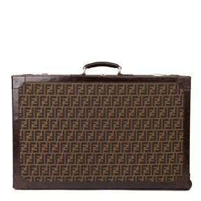 Fendi Brown Zucca Monogram Canvas Vintage Rolling Trunk, Originally Owned by Karl Lagerfeld