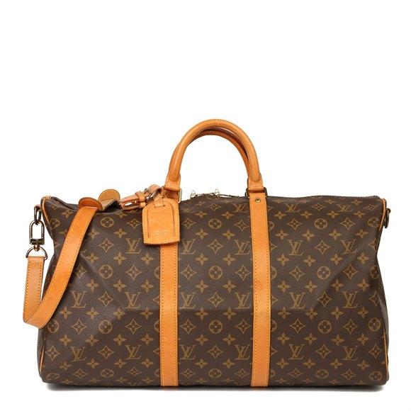 Louis Vuitton Brown Monogram Coated Canvas & Vachetta Leather Vintage Keepall 50 Bandoulière