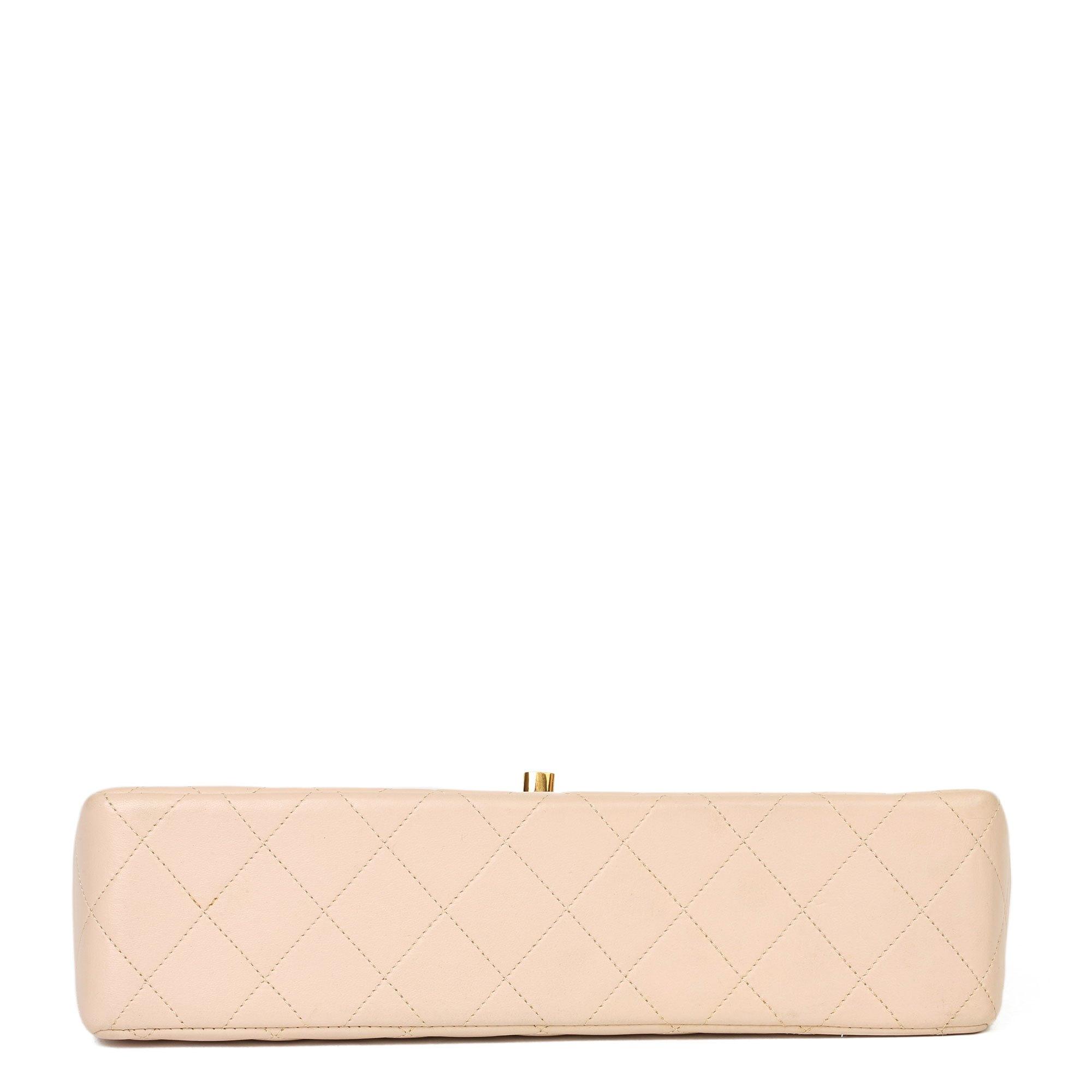 Chanel Beige Quilted Lambskin Vintage Medium Paris Limited Double Flap Bag