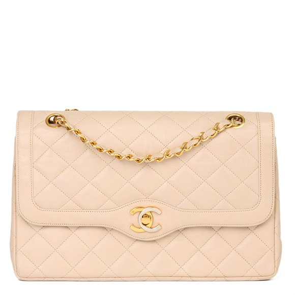 Chanel Beige Quilted Lambskin Vintage Medium Paris Limited Double Flap Bag