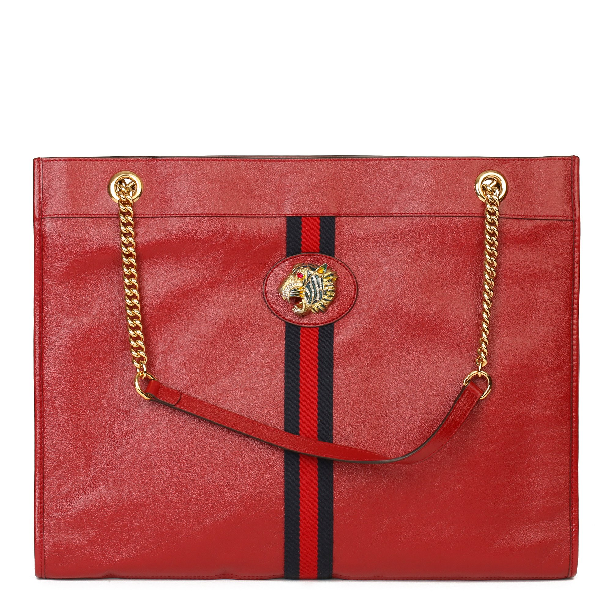 Gucci Red Aged Calfskin Leather Web Large Rajah Tote