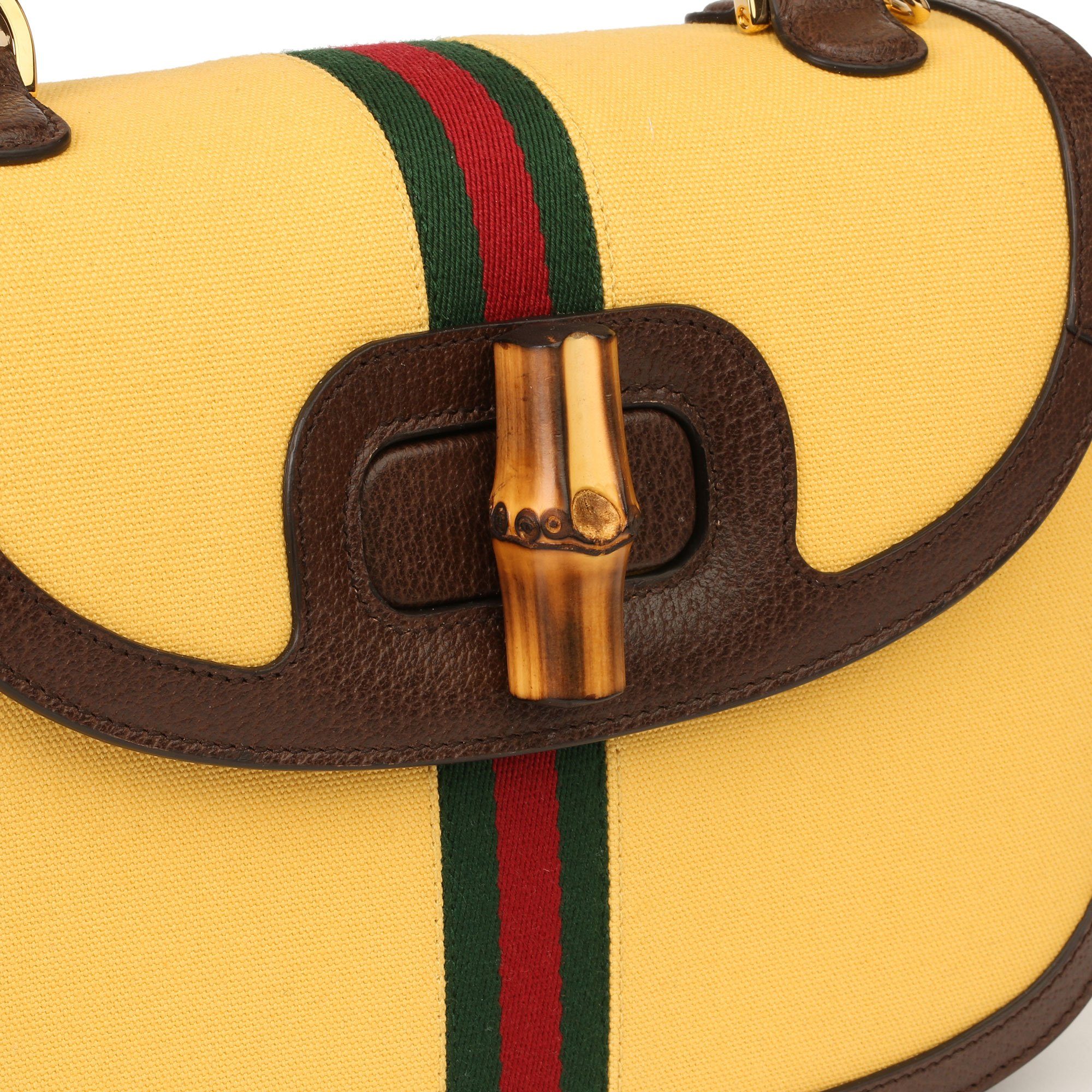 Gucci Yellow Canvas & Brown Pigskin Leather Web Classic Bamboo Top Handle