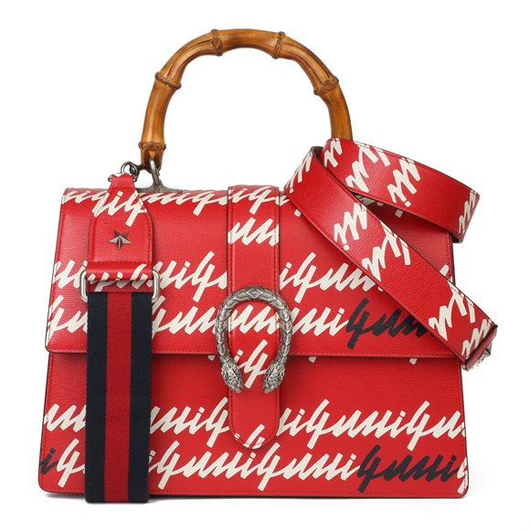 Gucci Red & White Calfskin Leather 'Gucci Garden' Large Dionysus Bamboo Top Handle
