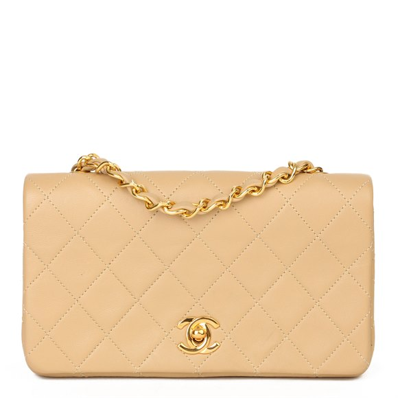 Chanel Beige Quilted Lambskin Vintage Mini Flap Bag