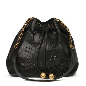 Chanel Black CC Perforated Caviar Leather Vintage Timeless Bucket Bag