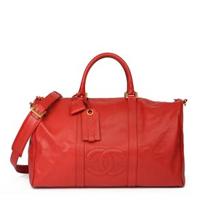 Chanel Red Caviar Leather Vintage Boston 50